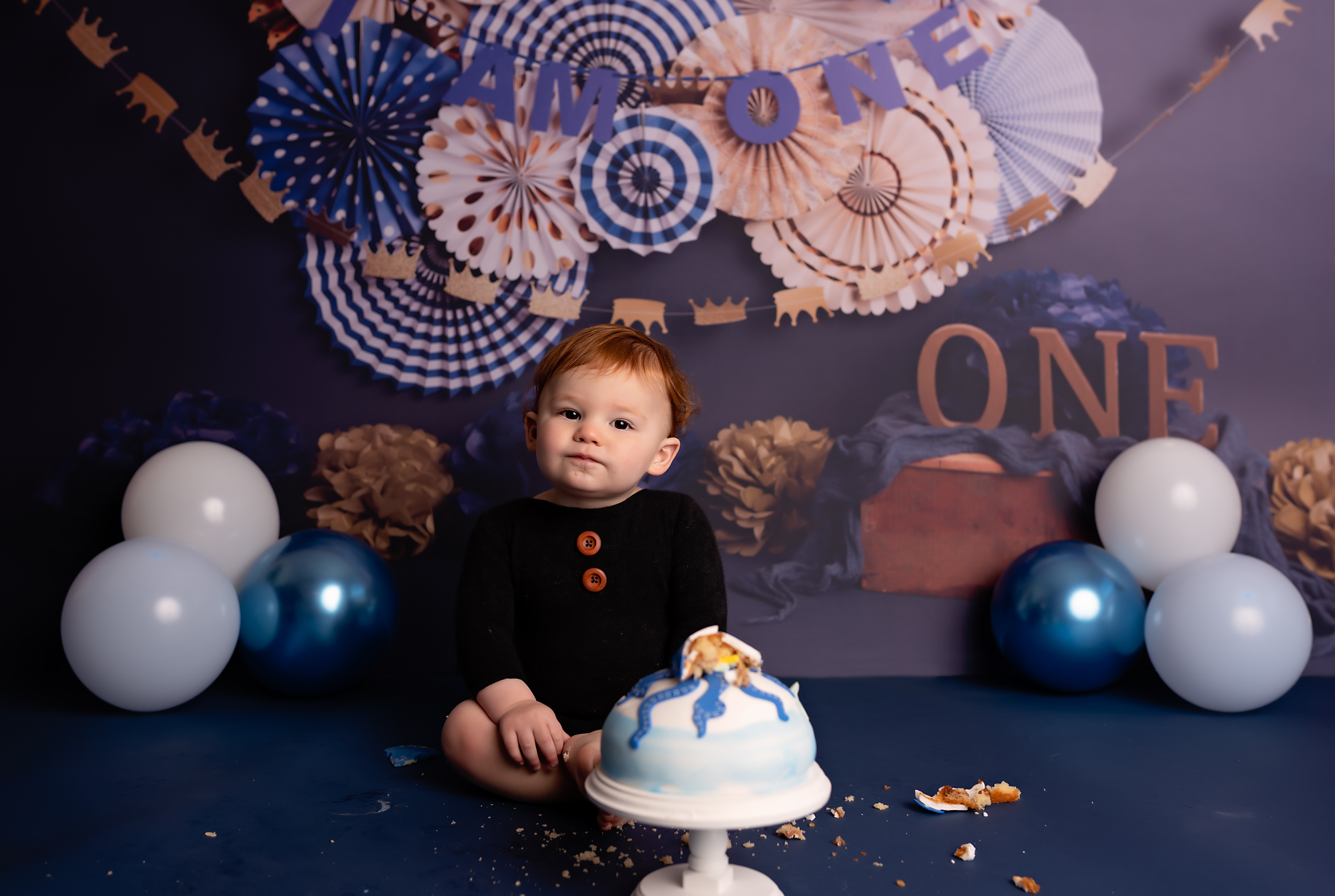 boy on his first cake smash session