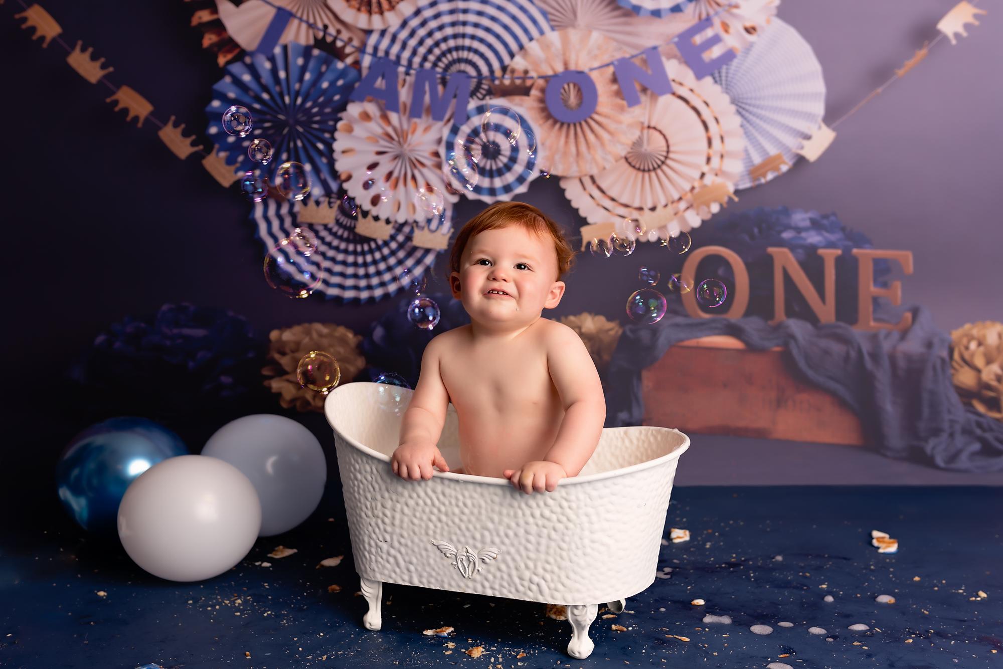boy in bath tub during his splash session in York